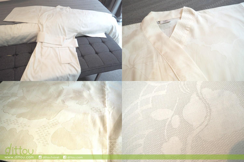睡袍利用 100% 精梳棉(亦稱埃及棉)製成,格外輕巧透氣,近看有漂亮的暗花,讓大家在家居享受更舒適的睡眠,體驗「法式生活樂趣」(joie de vivre)。